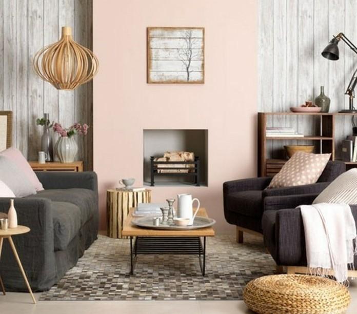 interieur-en-gris-et-saumon-deco-salon-gris-vintage-charmant-petite-table-en-bois