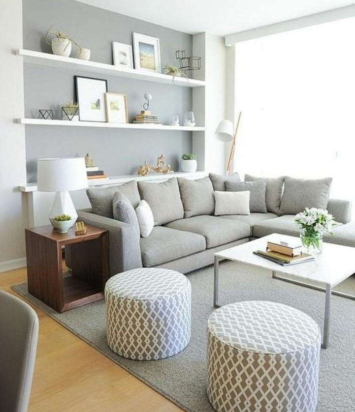 jolie-idee-deco-salon-pour-un-salon-accueillant-couleur-peinture-salon-gris-et-blanc-canape-gris-perle-table-basse-blanche-amenagement-salon-tres-esthetique