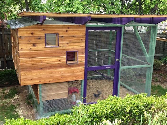 grand poulailler en bois coloré pour jardin