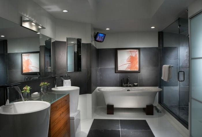 lavabo-colonne-salle-de-bain-en-gris-luxueuse-avec-tv