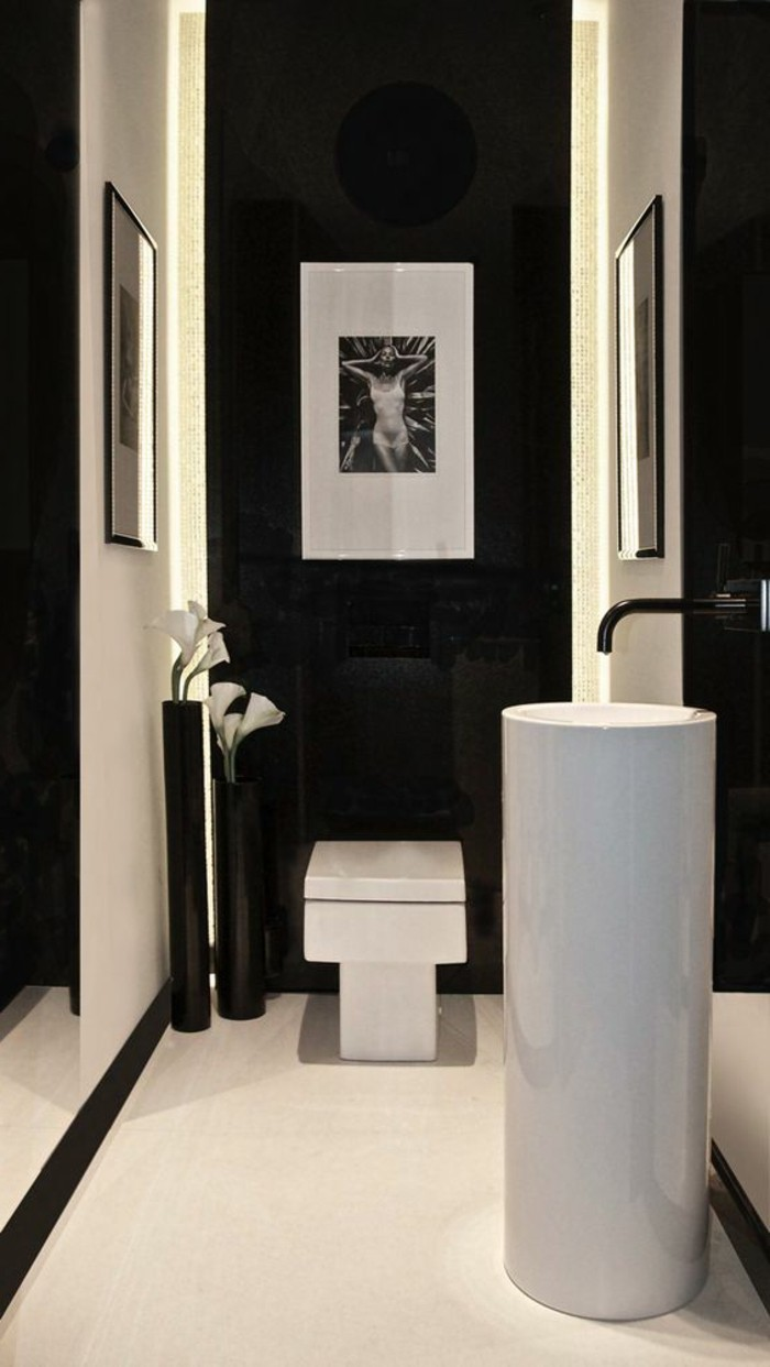salle de bain retro noir et blanc. Black Bedroom Furniture Sets. Home Design Ideas