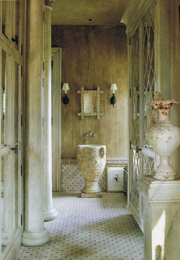 Le lavabo colonne en 81 photos inspirantes for Salle de bain style retro
