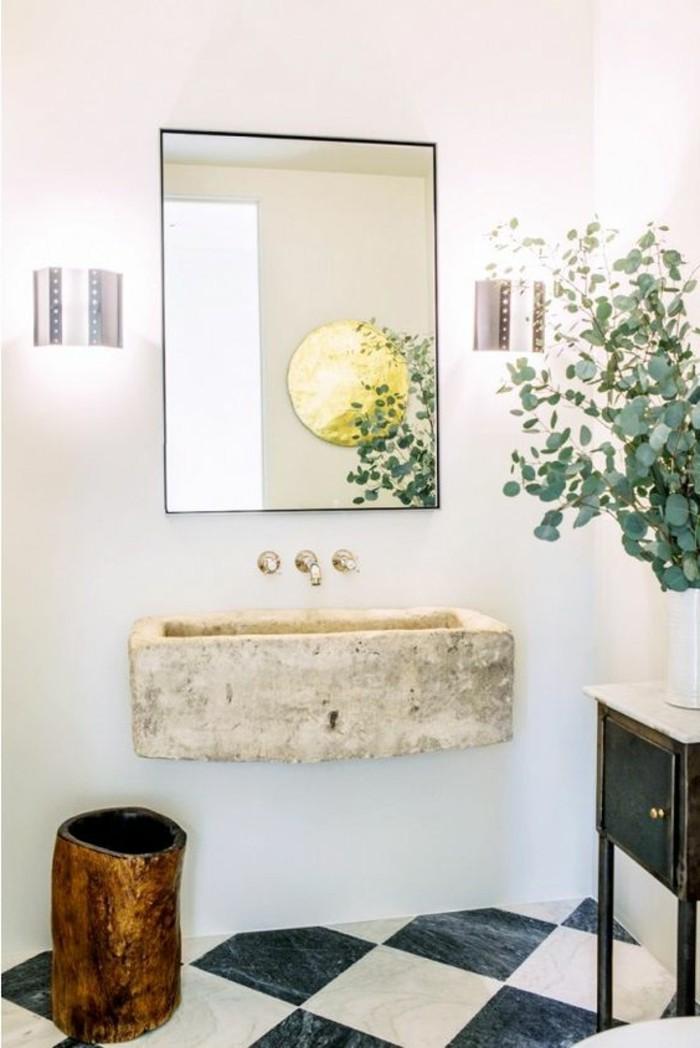 lavabo-en-pierre-carrelage-damier-noir-et-blanc-salle-de-bain-deco