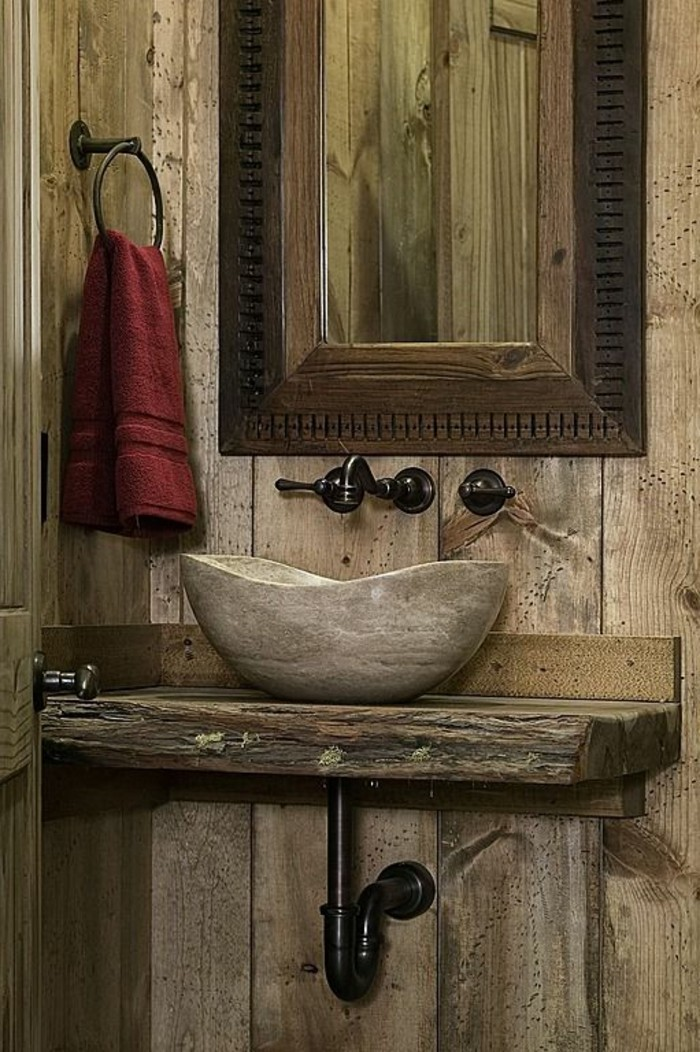 salle de bain en bois et pierre salle de bain lavabo. Black Bedroom Furniture Sets. Home Design Ideas