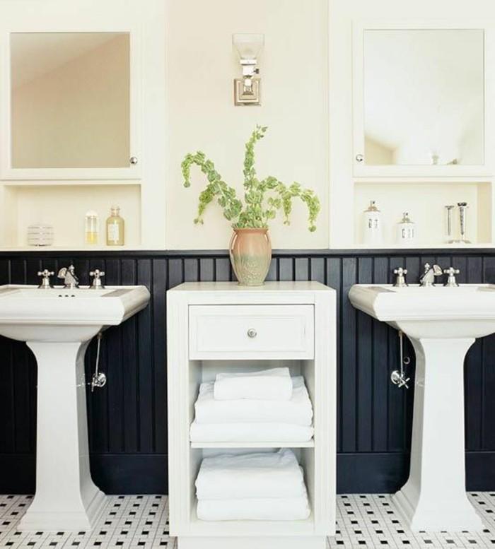 lavabo-retro-deux-lavabos-colonnes-blans-carrelage-noir