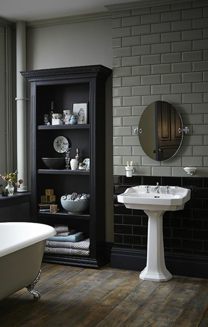 stunning salle de bain retro noir et blanc images amazing house design. Black Bedroom Furniture Sets. Home Design Ideas