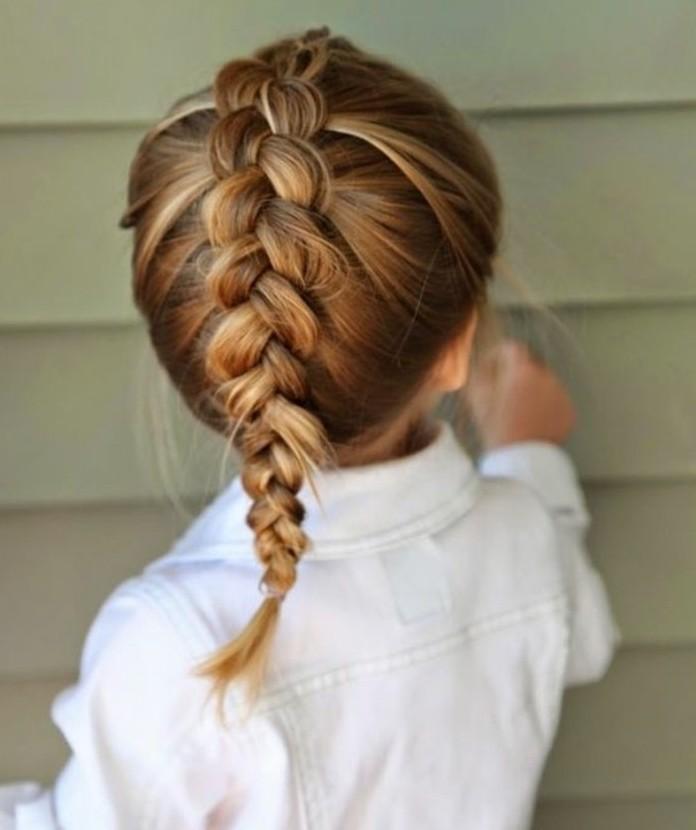 magnifique-coiffure-bebe-fille-avec-une-tresse-classique
