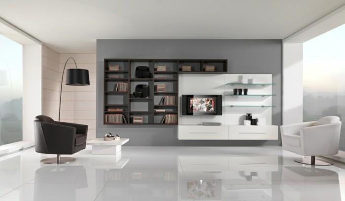 magnifique-idee-deco-salon-ultra-moderne-mur-en-gris-revetement-sol-blanc-meuble-tv-blanc-bibliotheque-marron