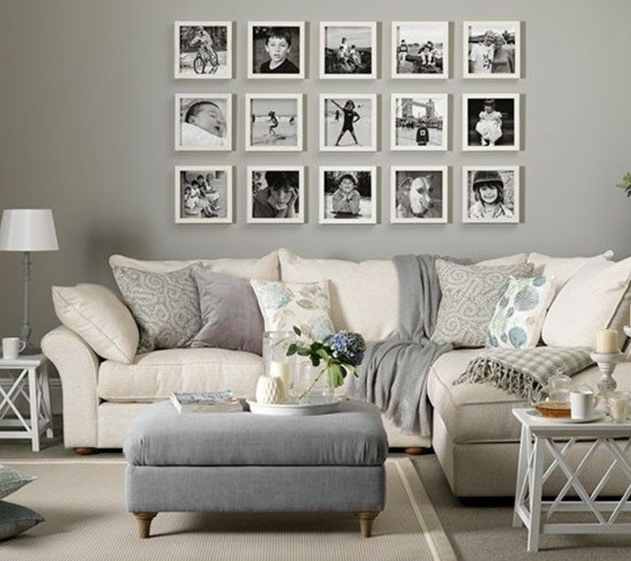 D co salon gris 88 super id es pleines de charme for Decoration murale blanc