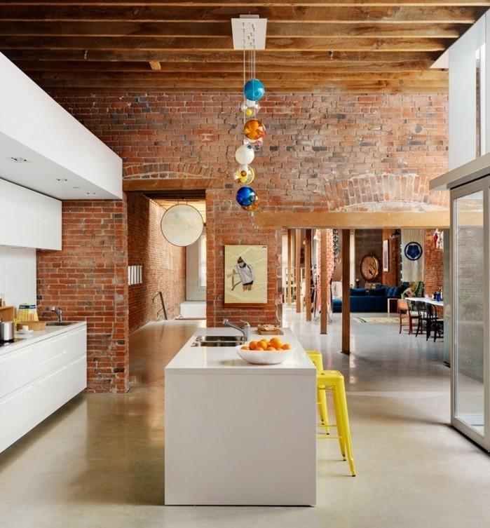 Cuisine industrielle l 39 l gance brute en 82 photos exceptionnelles - Deco mur cuisine moderne ...