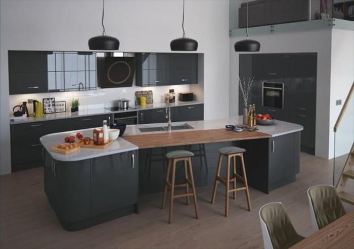 meuble-cuisine-gris-anthracite-ilot-de-cuisine-anthracite-combine-avec-du-blanc-et-du-bois-cuisine-ultra-moderne
