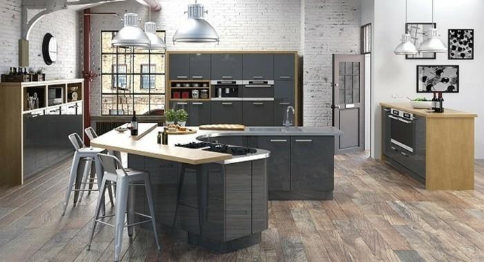 meubles-cuisine-et-ilot-de-cuisine-couleur-anthracite-parquet-en-bois-mur-en-briques-couleur-blanche-lampes-desing-interessant-cuisine-style-industriel