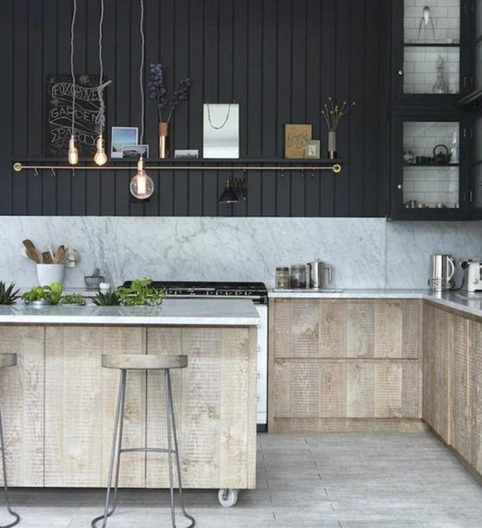 meubles-industriels-charmants-ilot-cuisine-a-roulettes-design-exceptionnel-mur-anthracite-cuisine-industrielle-rustique