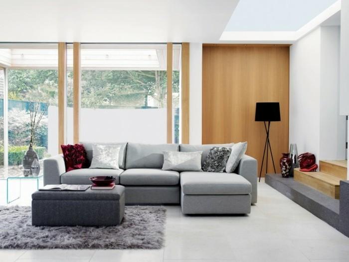 mobilier-gris-et-peinture-murale-blanche-quelques-touches-de-rouge-et-bois-salon-gris-et-blanc