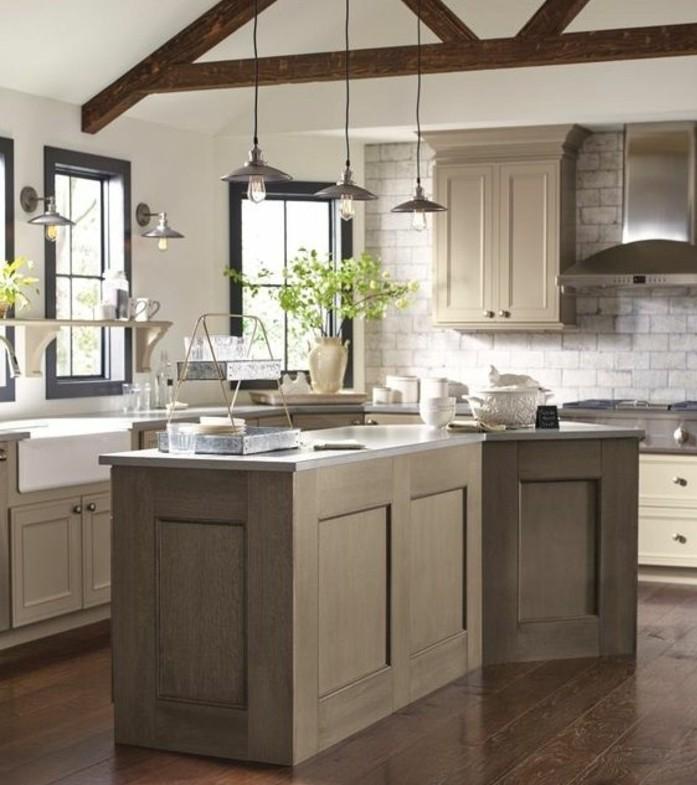 modele-cuisine-blanche-et-grise-exemple-de-cuisine-taupe-tres-esthetique-meuble-et-ilot-de-cuisine-taupe