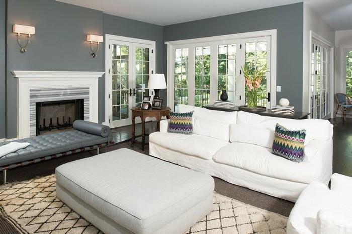 peinture-murale-grise-et-meubles-blancs-pour-ce-salon-moderne-amenagement-salon-tres-accueillant