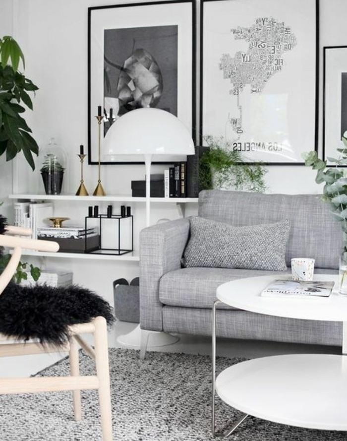 salon-gris-et-blanc-avec-de-petites-touches-de-noir-couleur-mur-et-etageres-blanches-canape-et-tapis-gris-idee-deco-salon-moderne-salon-scandinave