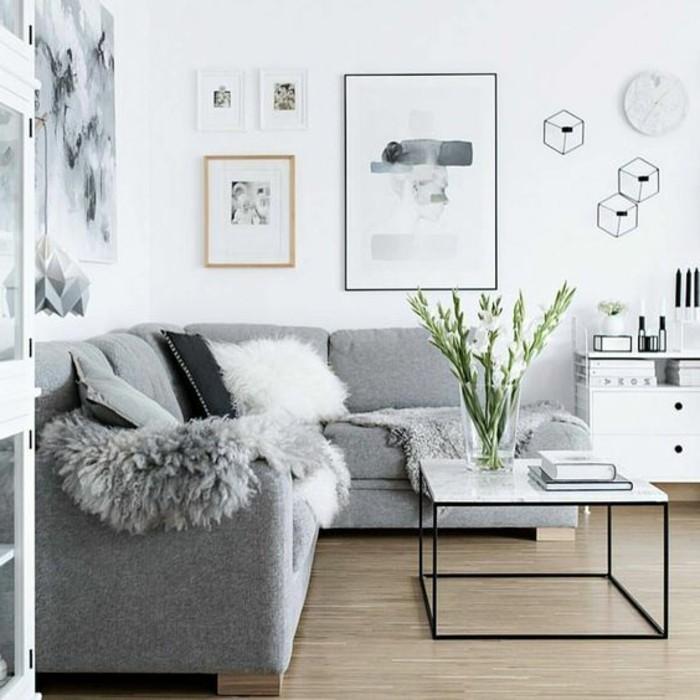 salon-gris-et-blanc-couleur-peinture-salon-blanc-et-canape-gris-parquet-en-bois-tableaux-d-art-moderne-sur-les-murs