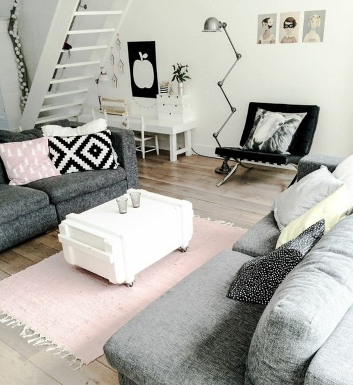 salon-gris-et-blanc-design-tres-interessant-couelur-peinture-salon-blanc-canapes-gris-accents-rose