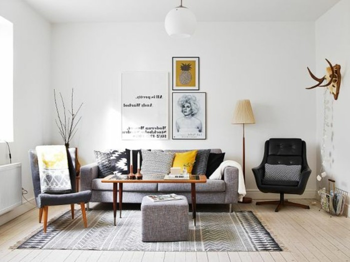 Decoration salon blanc et jaune - Idee peinture salon gris ...
