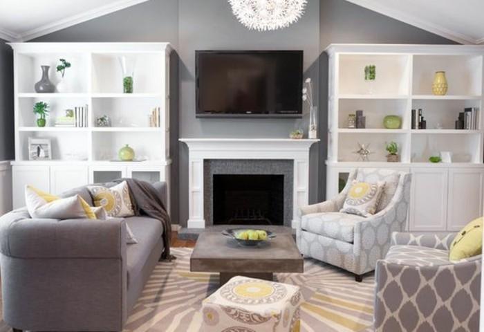salon-gris-et-blanc-peinture-murale-grise-buffet-blanc-canape-gris-quelques-accents-jaunes