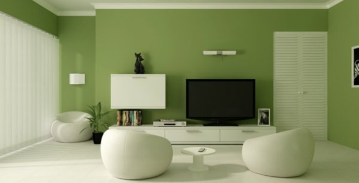 salon-mur-peinture-couleur-vert-idee-peinture-salon-vert-clair-chaise-basse-boule