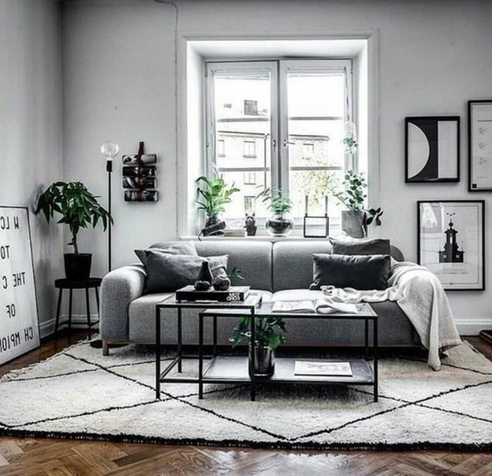 Deco salon scandinave chic for Salon scandinave gris