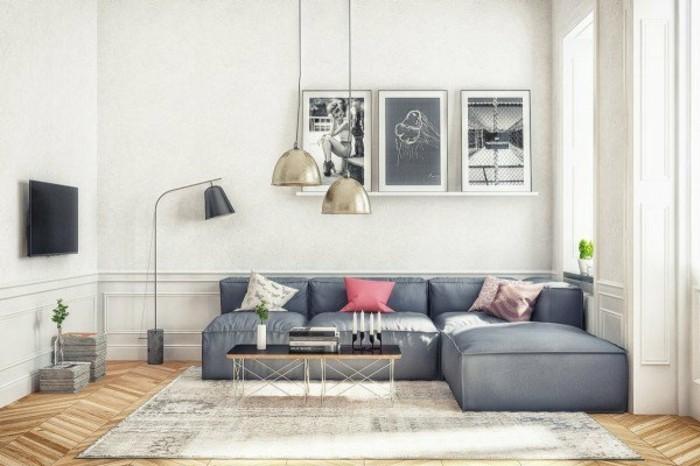 Un salon en gris et blanc c 39 est chic voil 82 photos qui - Deco murale scandinave ...