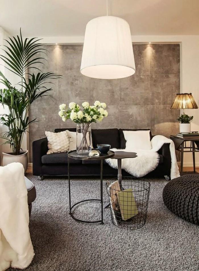 salon-tres-elegant-panneau-mural-gris-canape-noir-tapis-gris-petits-accents-blancs
