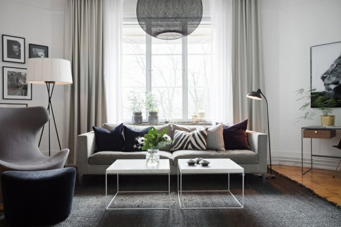 Un salon en gris et blanc c 39 est chic voil 82 photos qui en t moignent - Deco salon mur gris ...