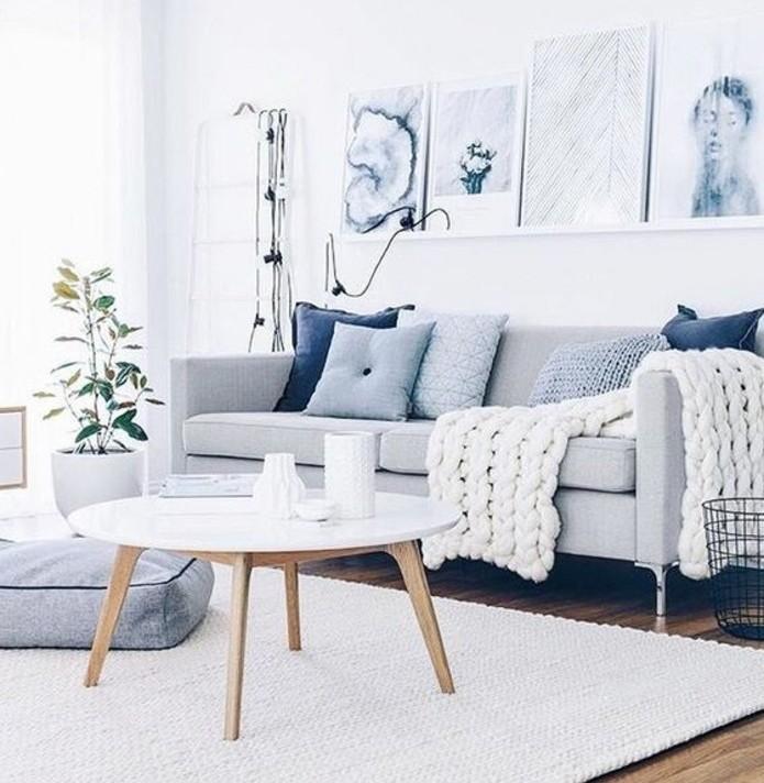 salon-zen-canape-gris-sur-un-fond-essentiellement-blanc-jolis-tableaux-d-art-moderne-parquet-coussins-bleus-qui-apporte-de-la-couleur