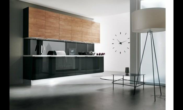 style-ultra-moderne-cuisine-couleur-anthracite-peinture-murale-blanche-placards-en-bois-luminaire-design-interessant