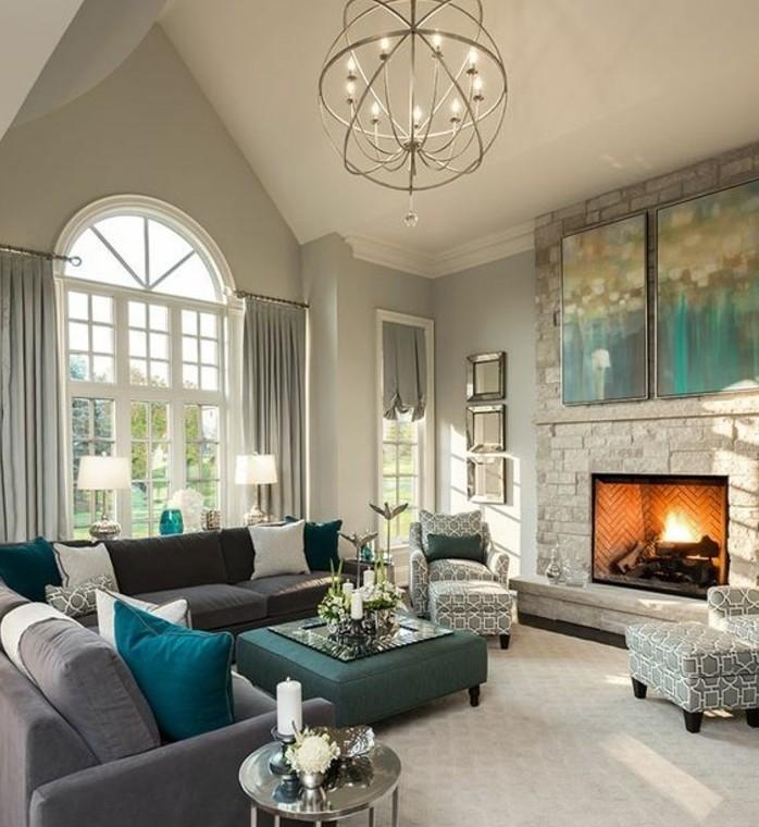 sublime-deco-salon-gris-couleur-peinture-salon-gris-perle-canape-gris-fonce-accents-verts-et-bleus-idee-deco-salon-somptueux