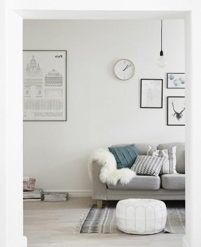 sublime-idee-salon-style-scandinave-couelur-murs-blanche-canape-gris-deco-murale-interessante-style-simple-raffine
