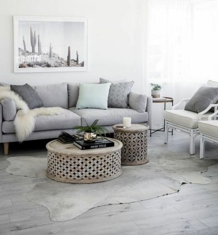 Un salon en gris et blanc c 39 est chic voil 82 photos qui for Sejour design blanc