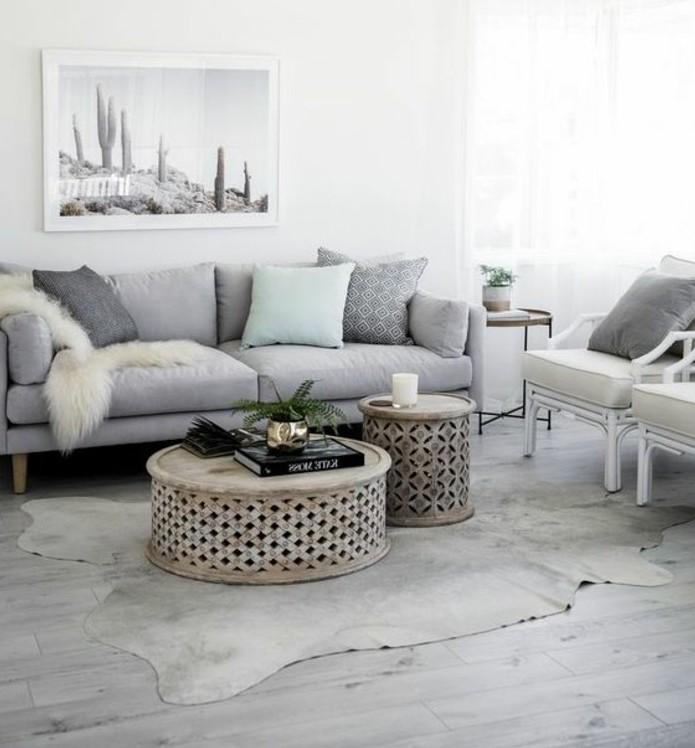 suggestion-elegante-et-exotique-salon-gris-et-blanc-tres-lumineux-canape-gris-tables-basses-design-interessant-couleur-peinture-salon-blanche