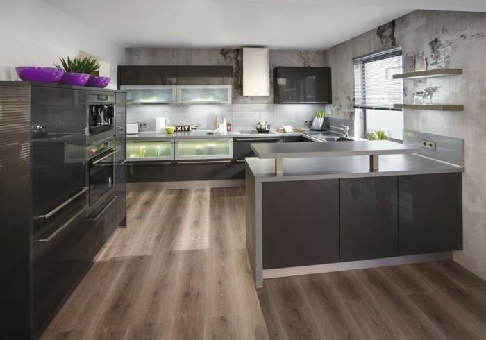 cuisine gris anthracite 56 id es pour une cuisine chic et moderne. Black Bedroom Furniture Sets. Home Design Ideas