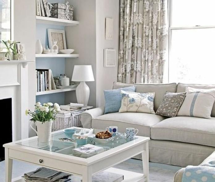 Deco Salon Bleu Et Gris : Un salon en gris et blanc c est chic voilà photos qui