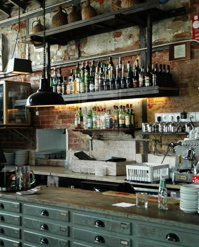 superbe-idee-mur-en-brique-defraichi-ilot-de-cuisine-vintage-use-suspension-industrielle-etagere-industrielle-style-loft-industriel