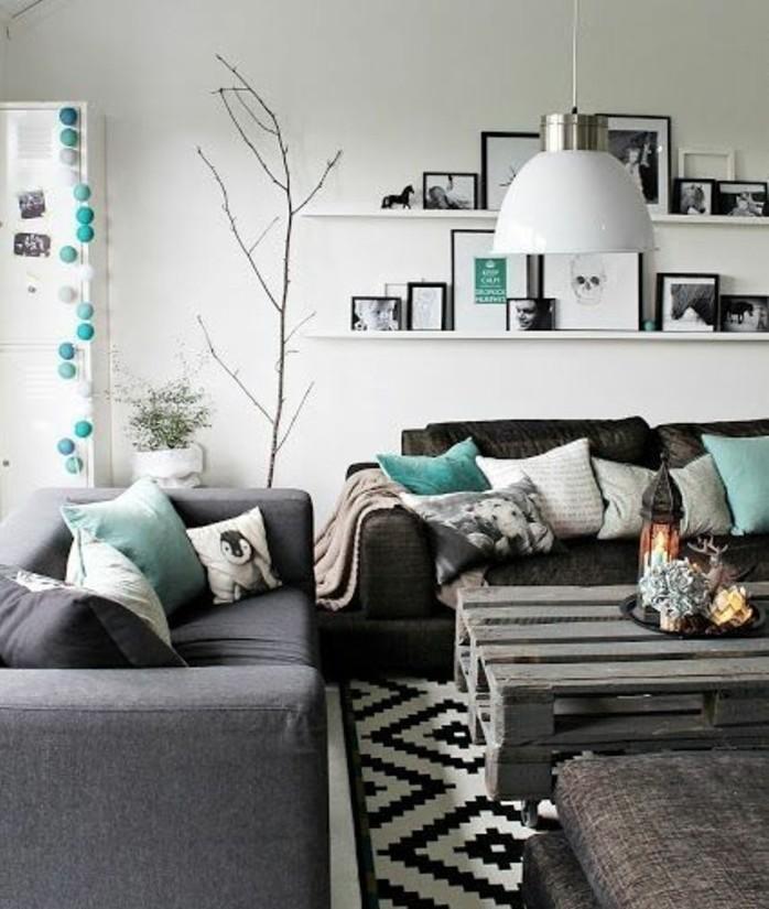 superbe-idee-deco-salon-en-gris-et-blanc-couleur-peinture-salon-blanche-canape-gris-tapis-danier-petites-touches-de-turquois