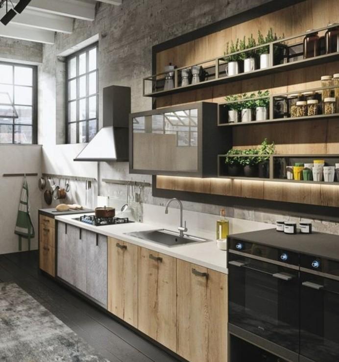 superbe-modele-cuisine-industrielle-mur-en-beton-meuble-cuisine-en-bois-etagere-industrielle-look-industriel-et-rustique