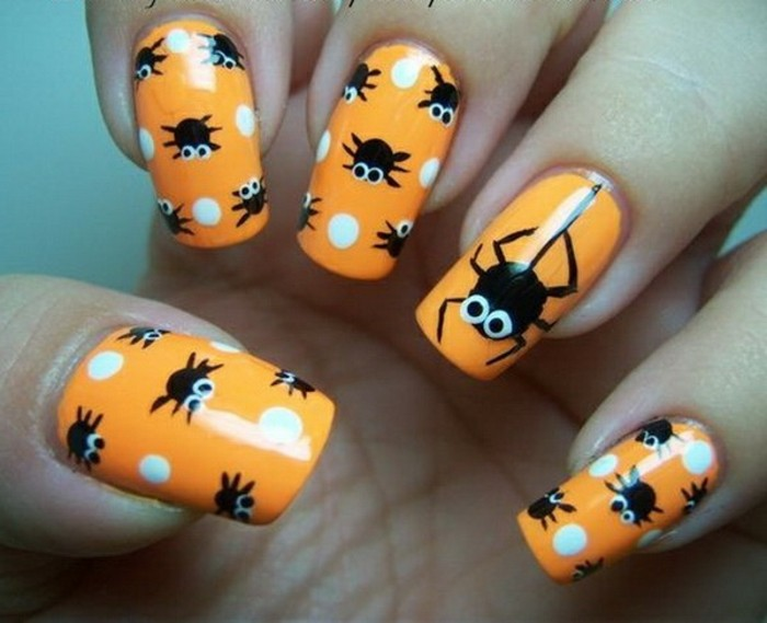 superbe-ongle-gel-couleur-idee-deco-ongle-spiders