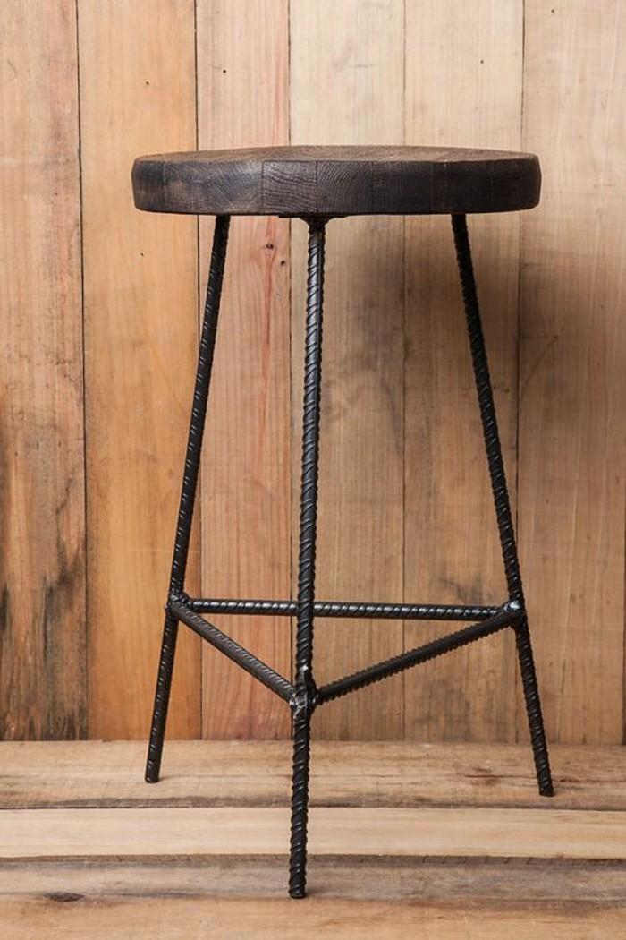 tabourets-de-bar-acier-rustique-bois