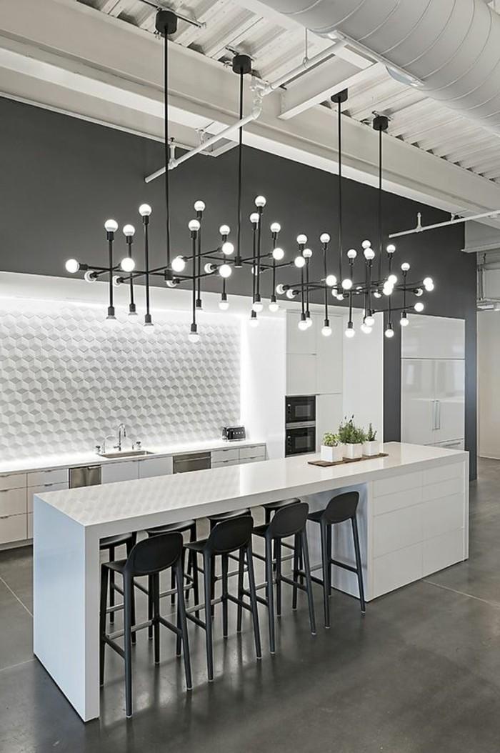 tabourets-de-bar-ilot-blanc-lampes