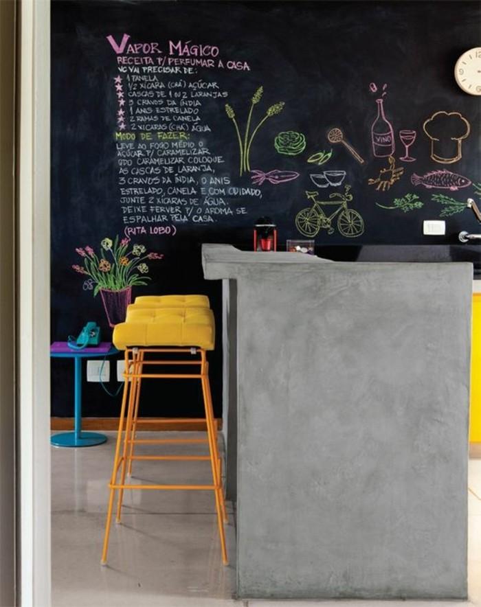 tabourets-de-bar-jaune-mur-obscure-sol-bois