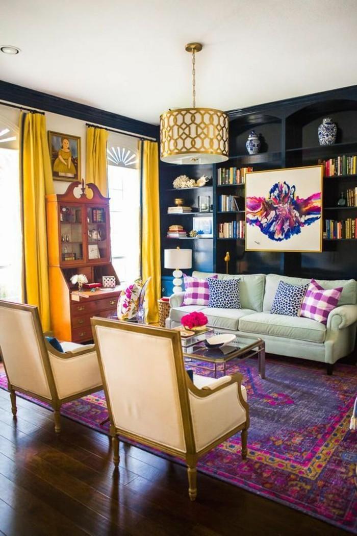 tapis-modernes-deux-fauteuils-canapé-lustre