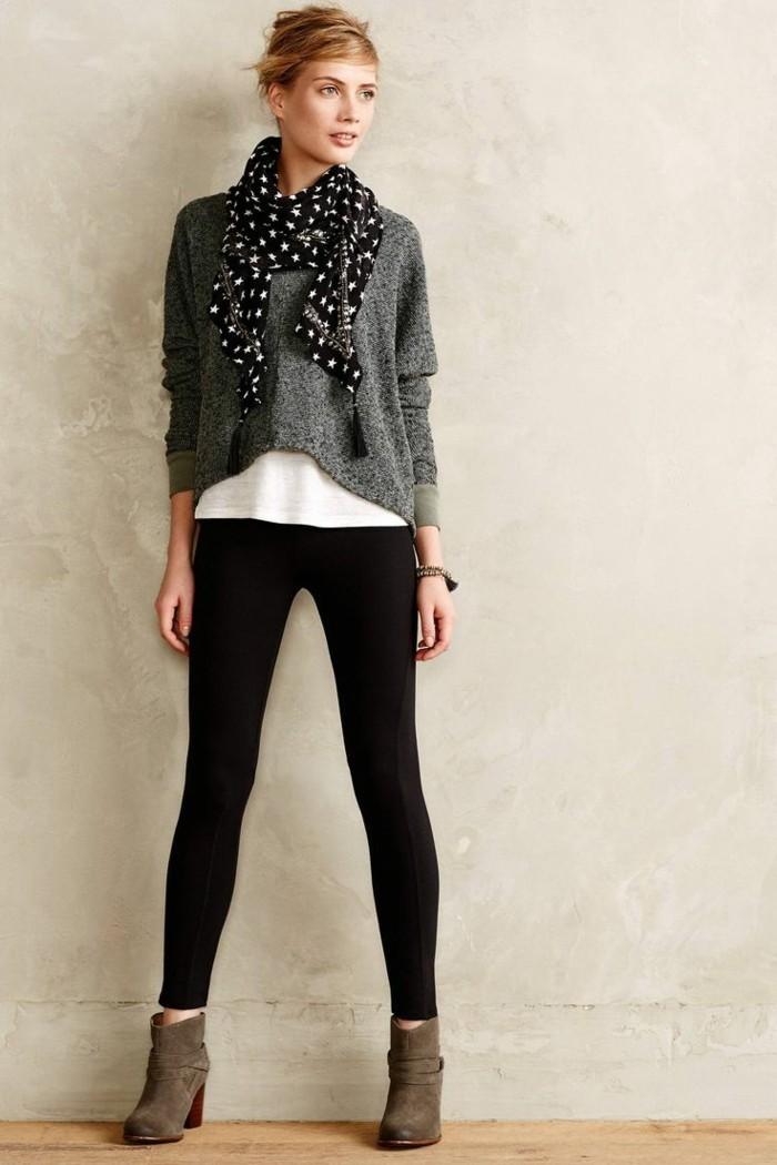 tendance-chaussure-bottines-noires-femme-pull-gris-t-shirt-blanche-jean-noir-slim