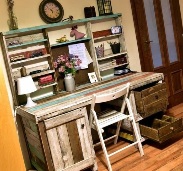 bureau en palette mod les diy et tutoriel pour le fabriquer soi m me. Black Bedroom Furniture Sets. Home Design Ideas