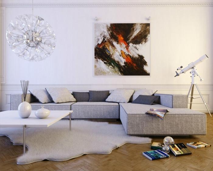 tres-interessante-suggestion-amenagement-salon-couleur-peinture-salon-blanche-canape-gris-table-et-tapis-blancs-parquet-en-bois