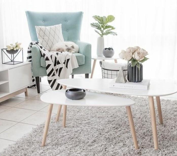 tres-jolie-idee-deco-salon-gris-et-blanc-petit-salon-tres-lumineux-tapis-gris-tables-gigognes-blanches-canape-bleu